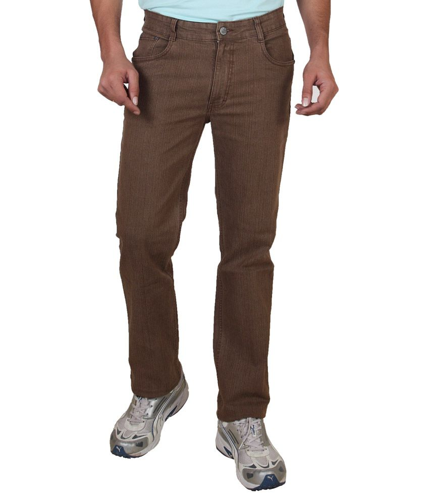 Awack Brown Regular Fit Jeans