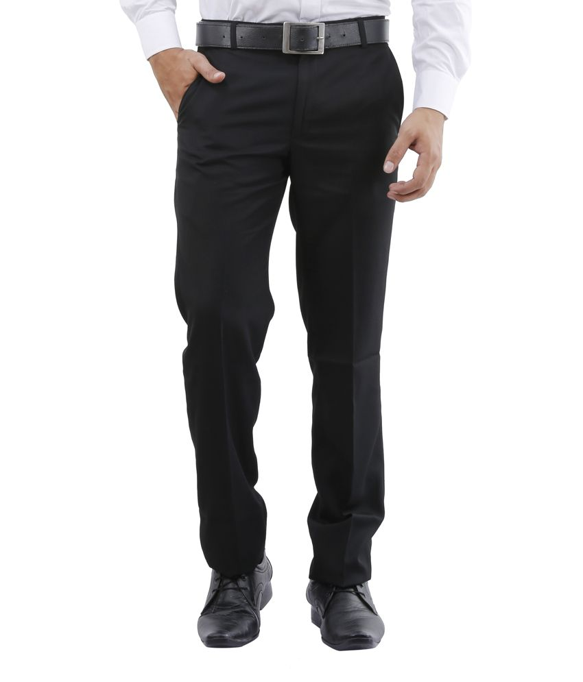 Lamode Black Regular Fit Formals Trousers