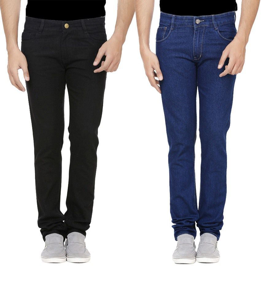 Ansh Fashion Wear Multicolour Regular Fit Jeans Pack Of 2