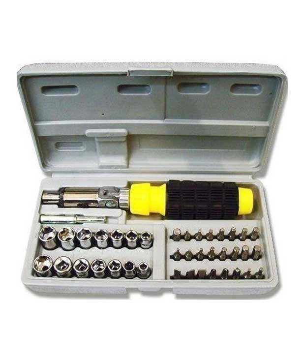 Globalepartner 41Pcs-010 Black Steel 41 Pcs Ratchet Screwdriver Tool Kit