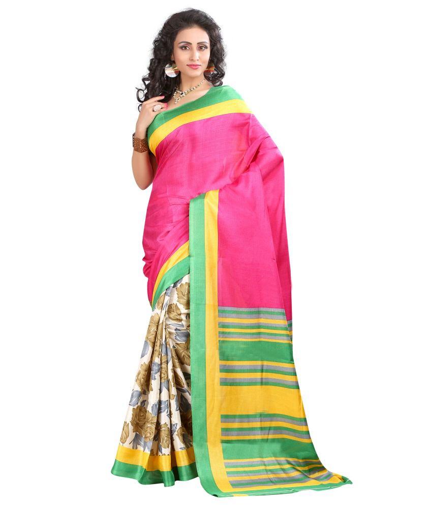 Nilkanth Communication Pink And Green Bhagalpuri Silk Saree' ).substring(1)
