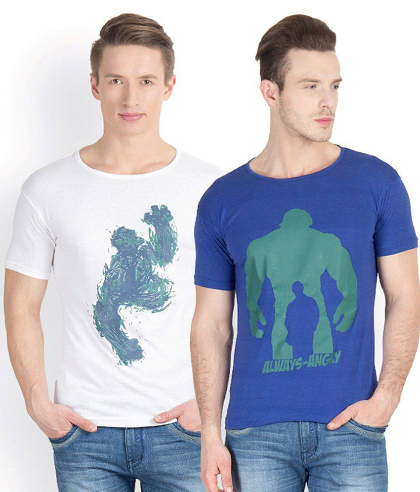 Incynk Blue and White Cotton T-Shirt - Pack of 2