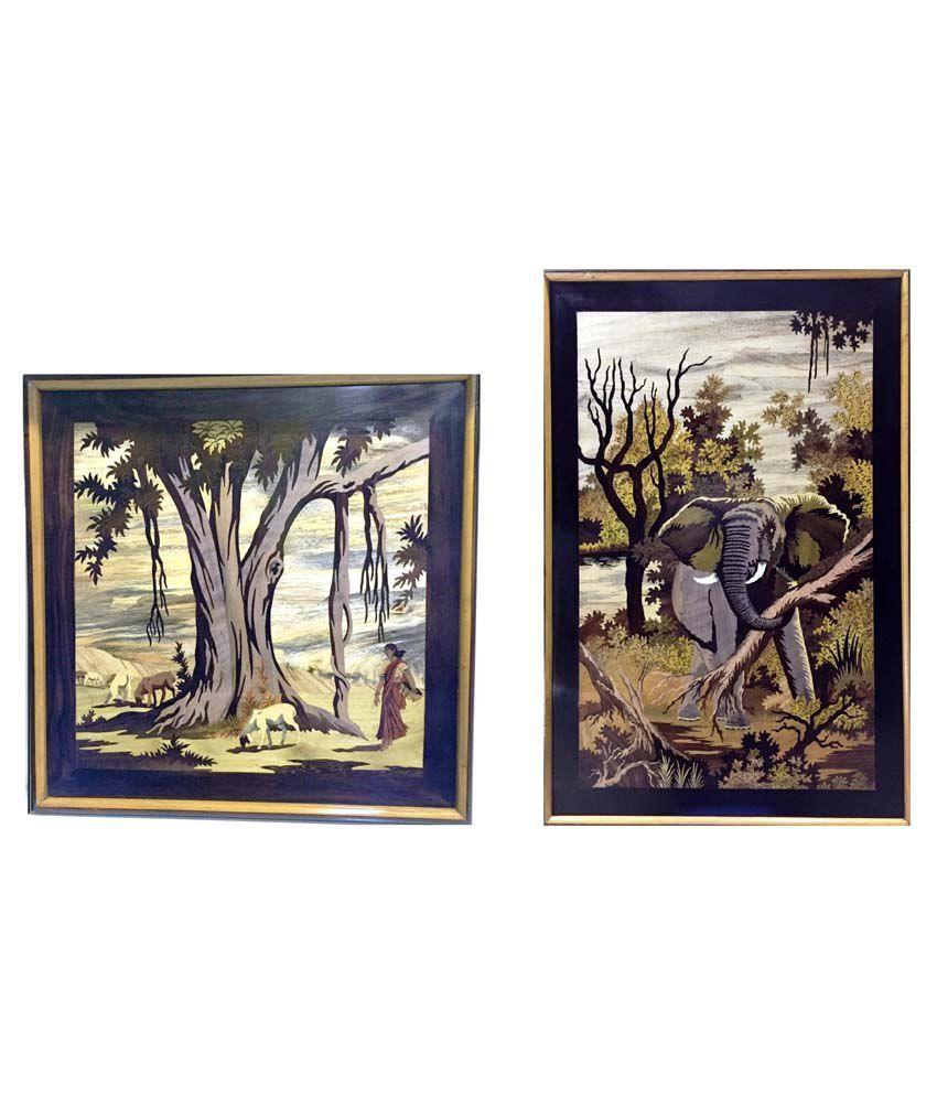 Craftcurve Wooden Banyantree & Elephant King Framed Art Print Set Of 2