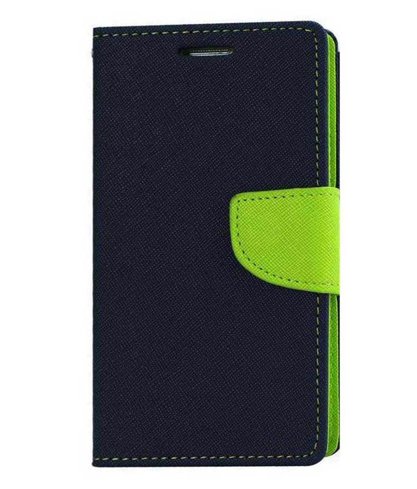 DR2S Fashion Retail Flip Cover For Micromax Canvas Pep Q371-Blue & Green