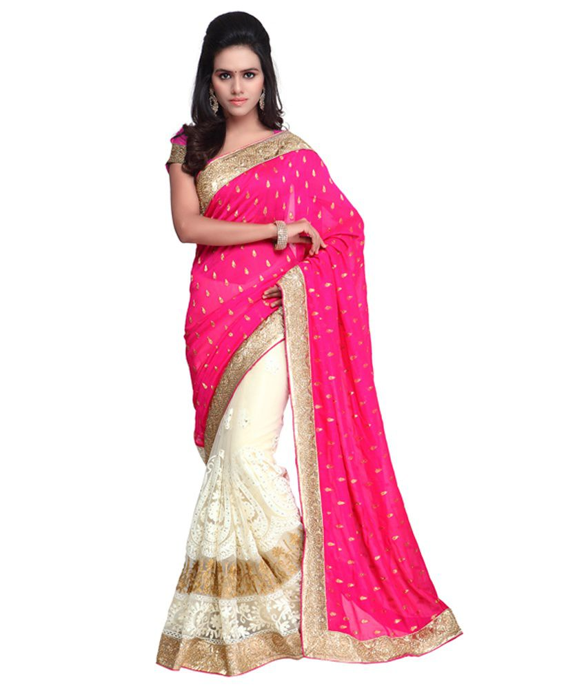 A G Lifestyle Pink & Off White Viscose Saree