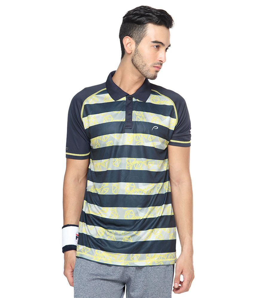 Proline Multicoloured Striped Polo T Shirt