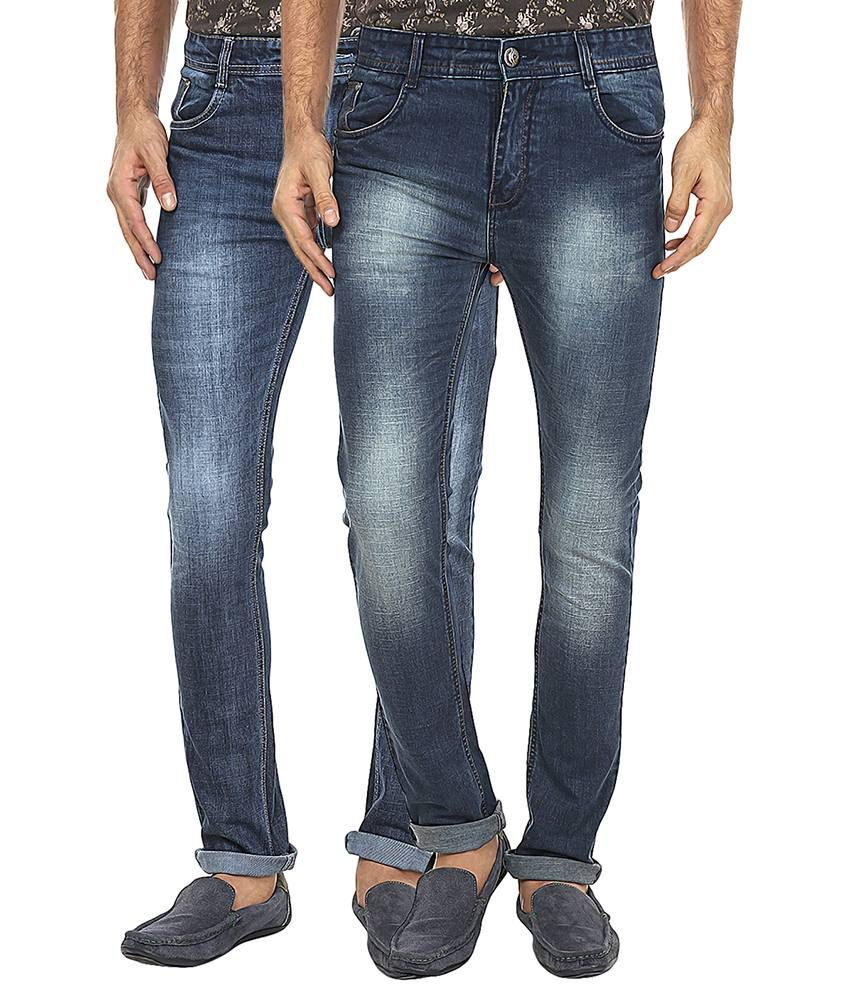 99 Degrees Blue Slim Fit Jeans Pack Of 2