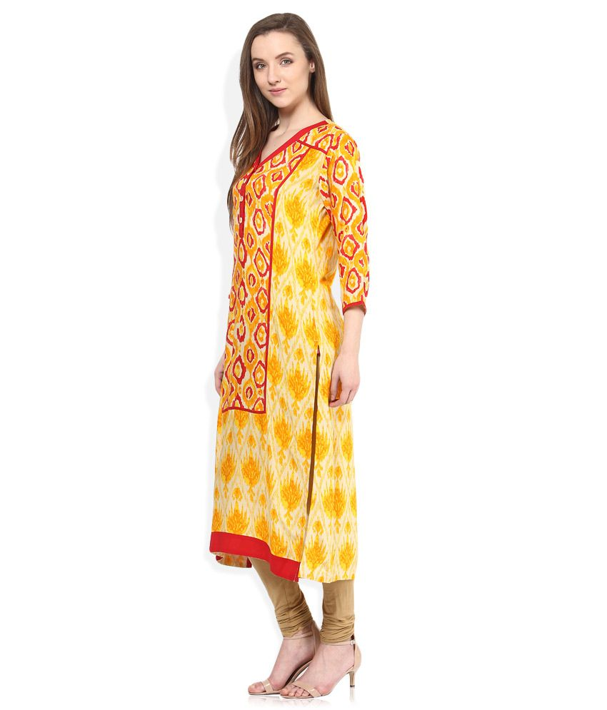 f90326b38 Shree Yellow Rayon STRAIGHT Kurti - Buy Shree Yellow Rayon STRAIGHT Kurti  Online at Best Prices in India on Snapdeal