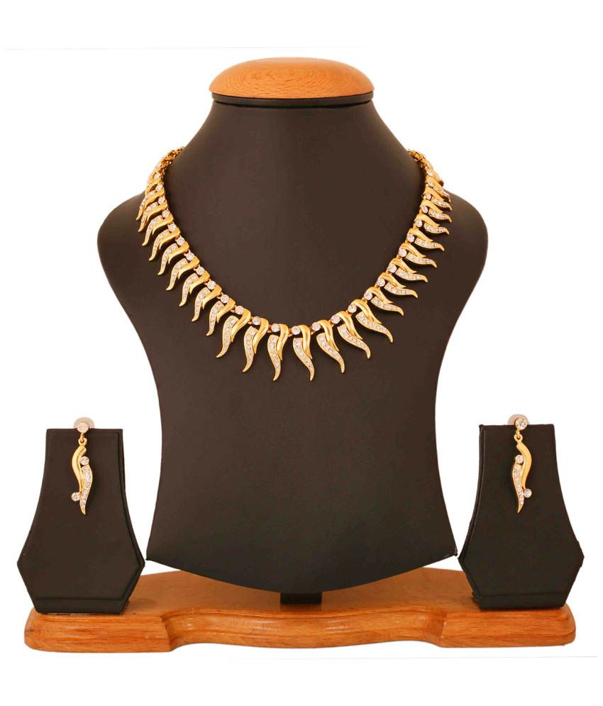 Touchstone Golden Party Wear Necklace Set