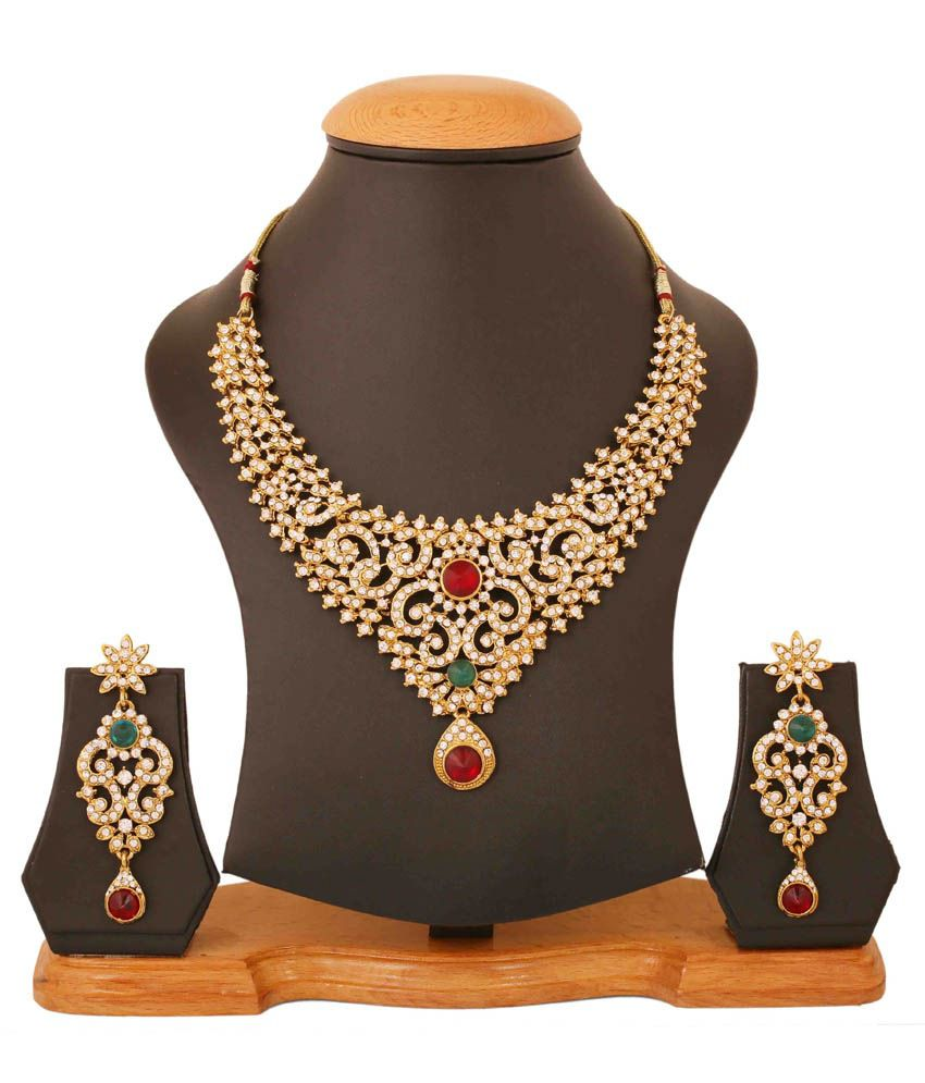 Touchstone Multicolor Wedding & Engagement Wear Necklace Set