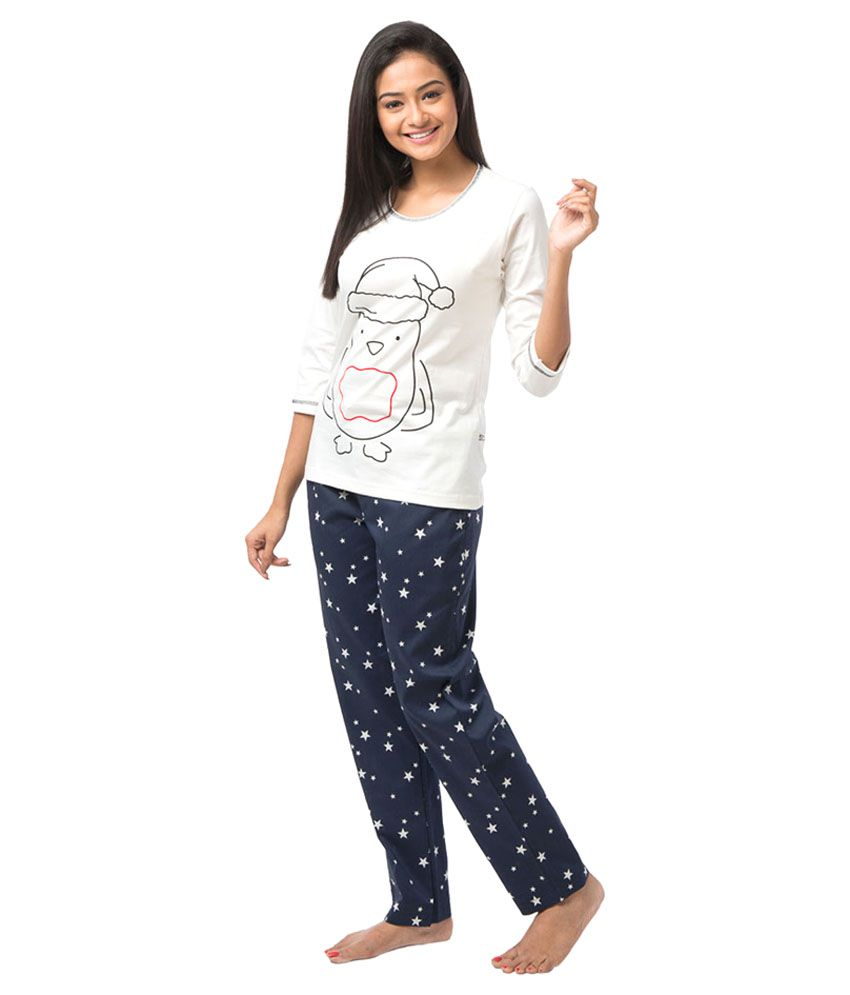 87864bbbca4 Buy Nite Flite White Cotton Nightsuit Sets Pack of 2 Online at Best ...