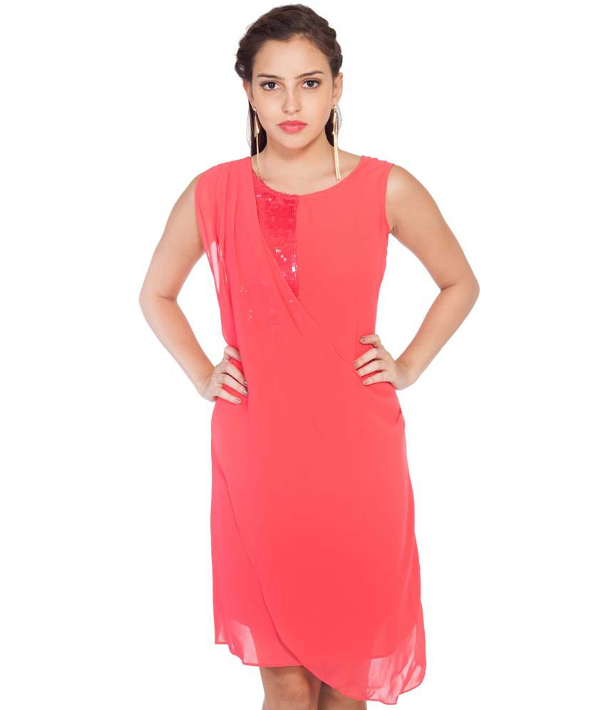 Soie Pink Georgette A Line Dress