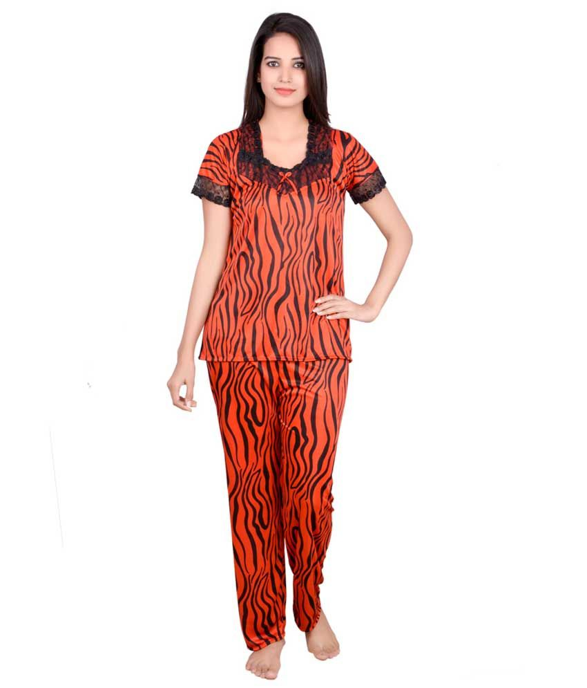 Urban Yuva Orange Satin Nightsuit Sets
