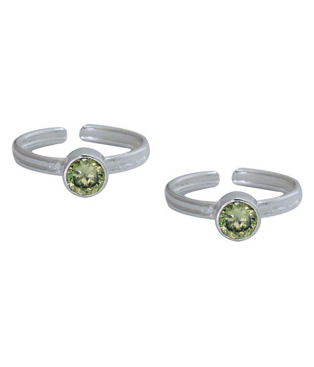 Frabjous Green Alloy Designer Toe Ring