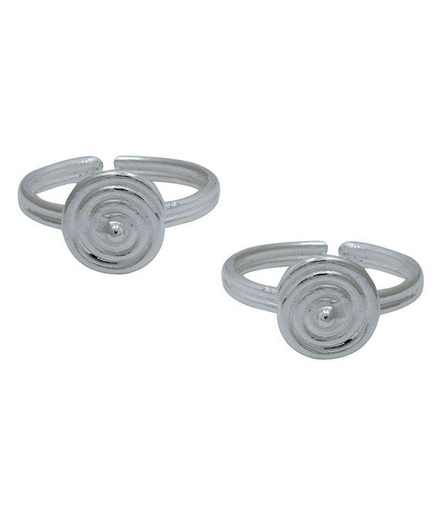 Frabjous Silver Alloy Designer Toe Ring
