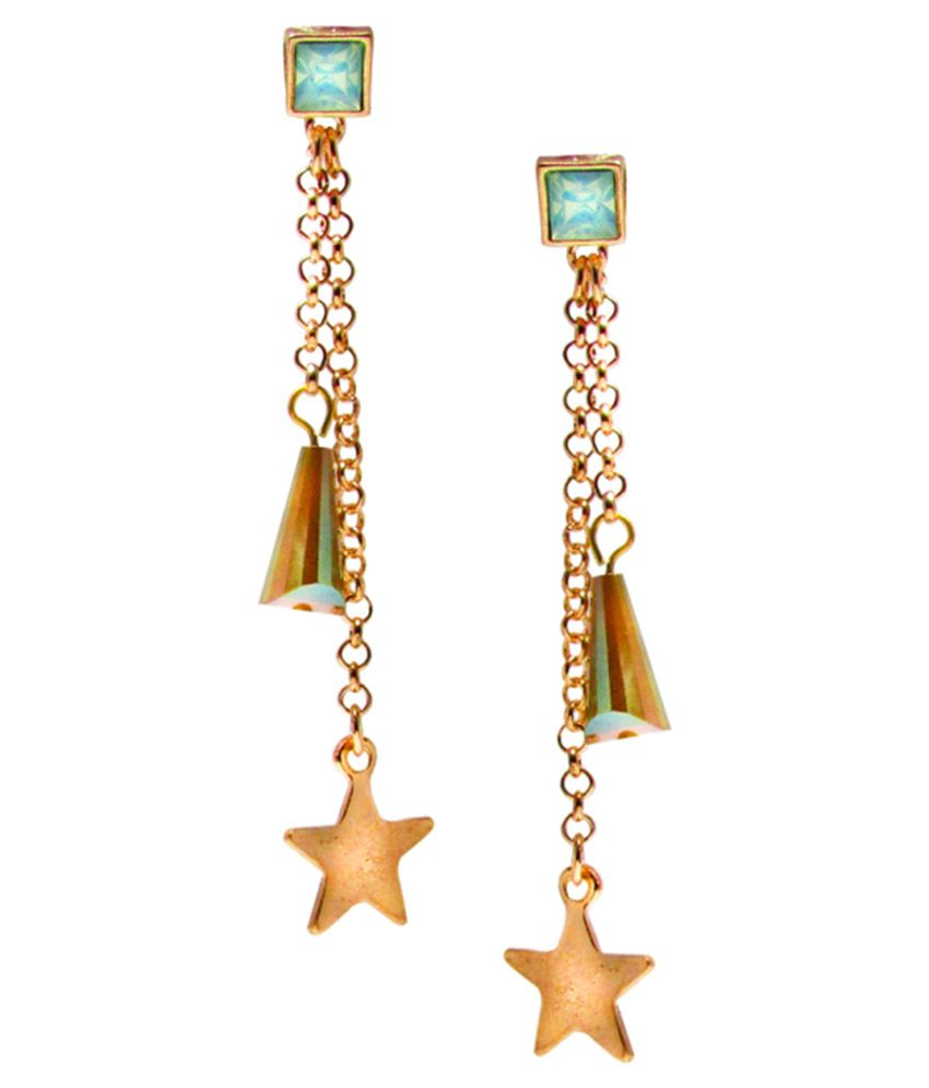 Jewelz Golden And Blue Alloy Hanging Earrings