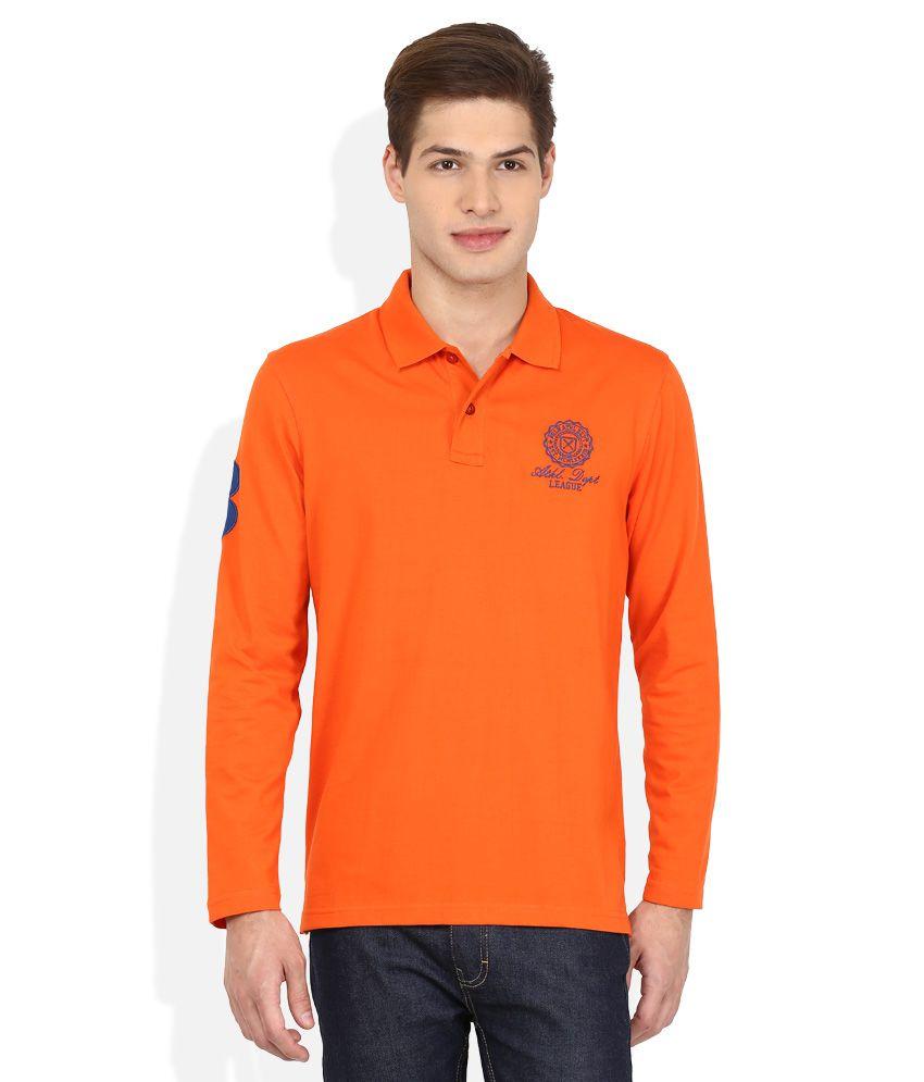 Proline Orange Solid Polo T Shirt