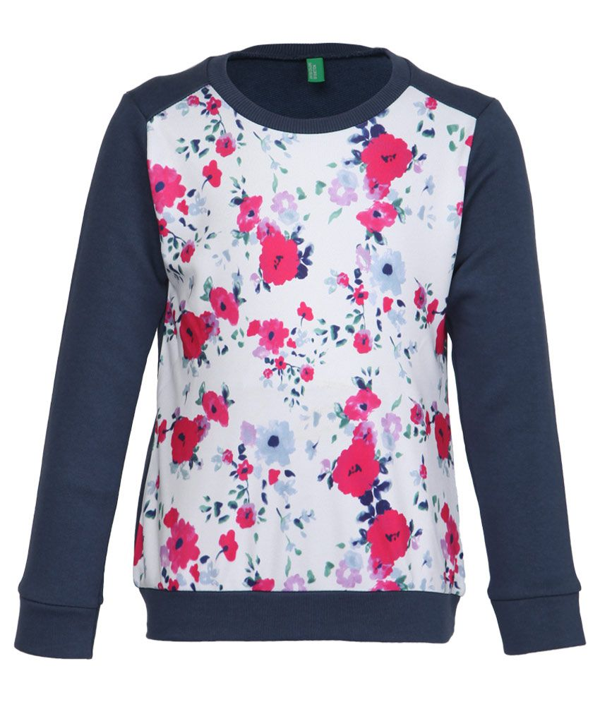 United Colors Of Benetton Navy Floral Printed Sweatshirt