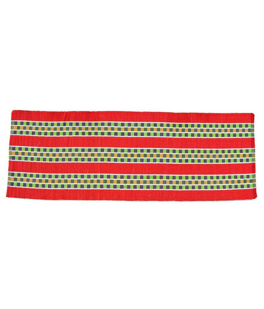 Younique Red Ethnic Cotton Floor Mat