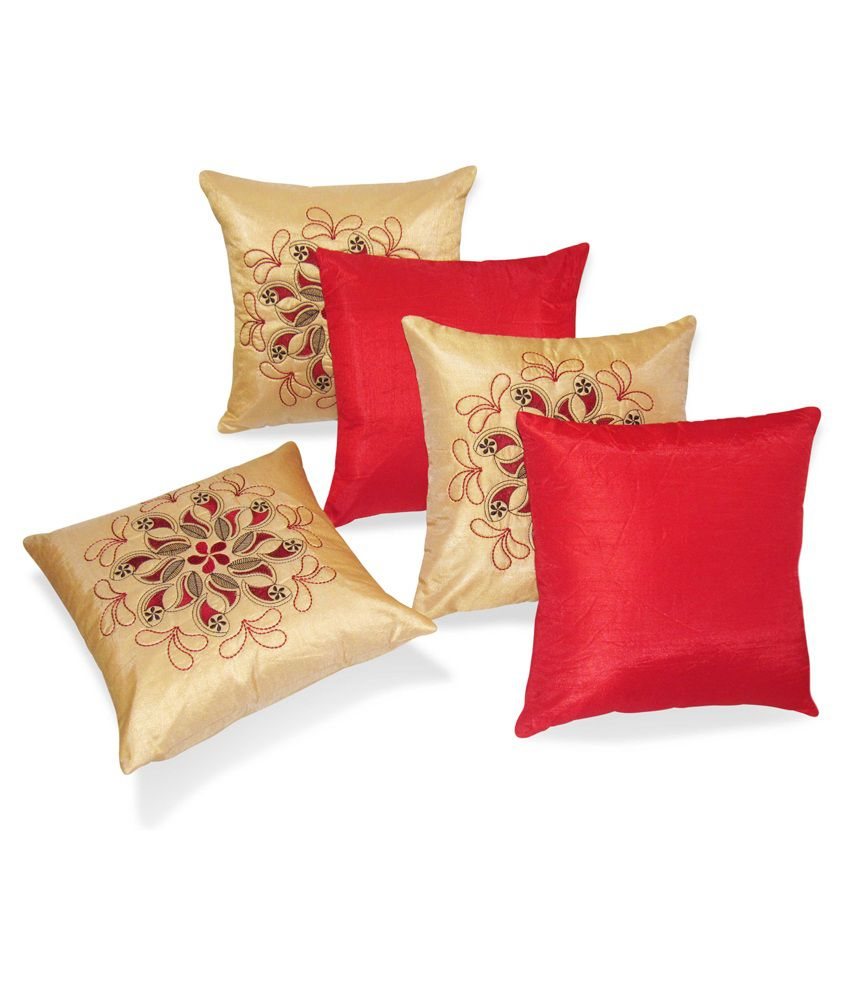 Zikrak Exim Set of 5 Polyester Cushion Covers 40X40 cm (16X16)
