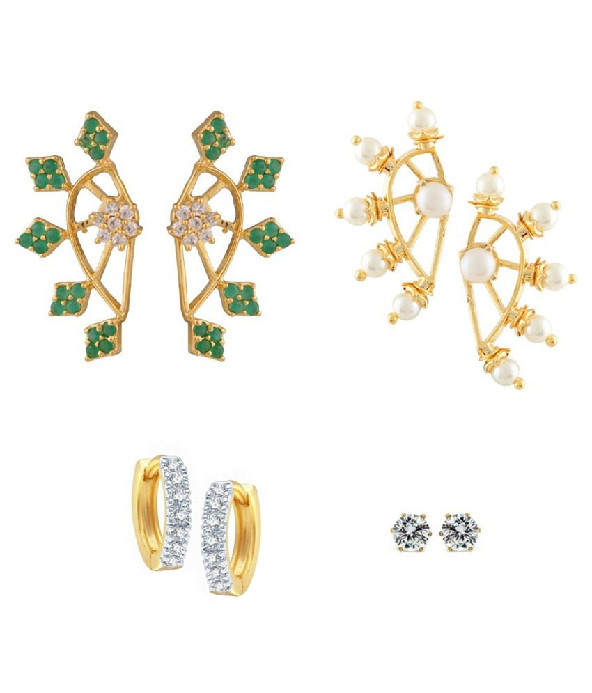 Archi Collection Gold Plated Earrings Set Of 3