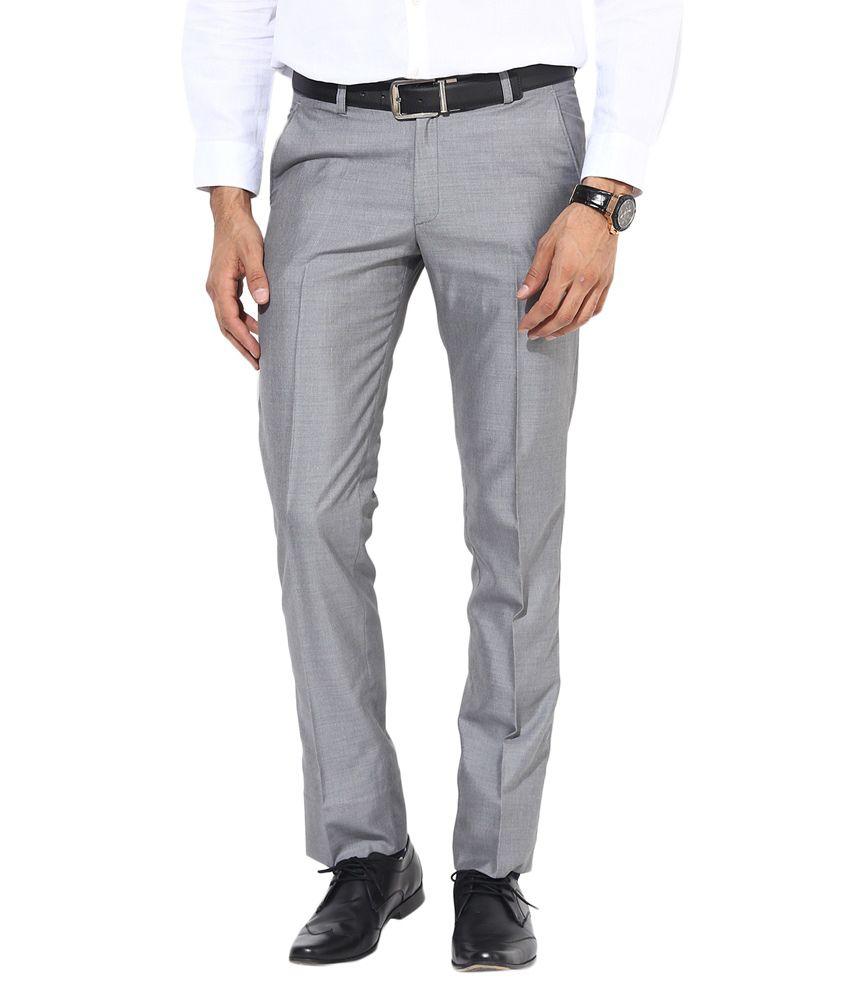 Bukkl Slim Fit Grey Formal Trousers