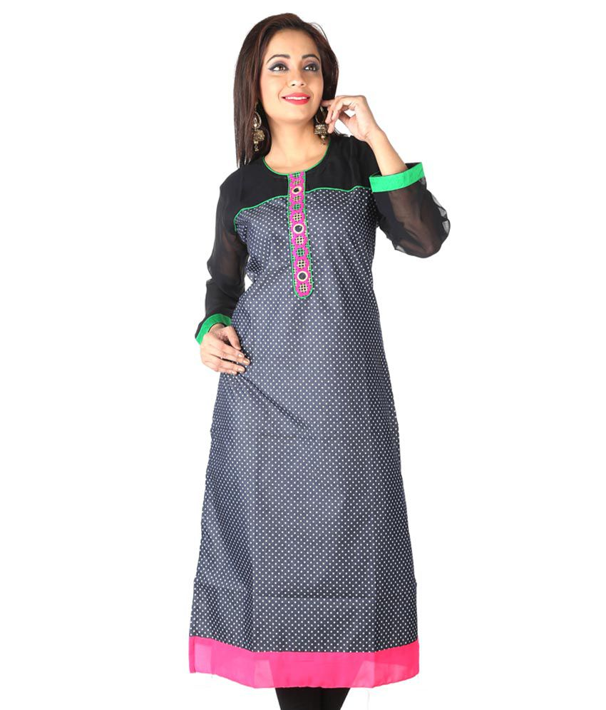 Chilli Blue And Black Cotton Kurti