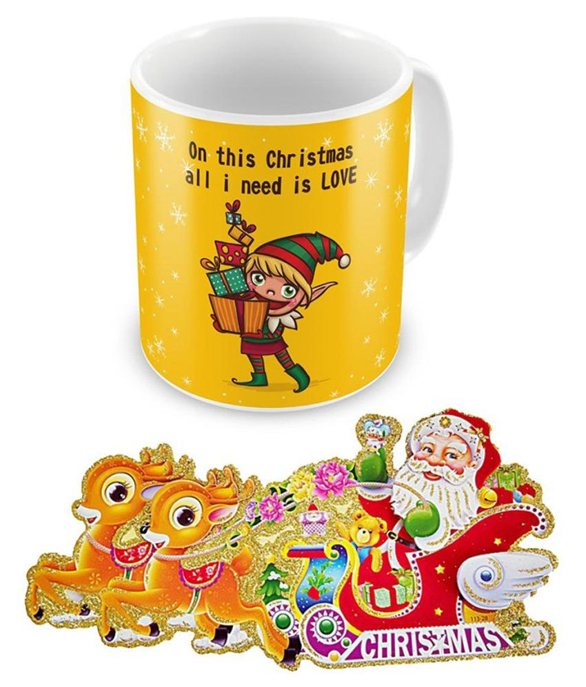 United Colors Yellow Acrylic 300 ml Coffee Mug With Greeting Card
