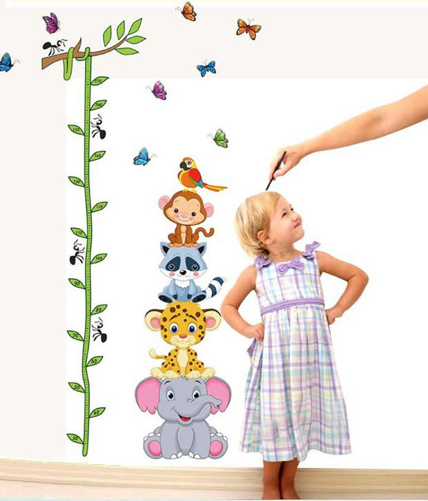 Uberlyfe Tree With Animals Height Chart Wall Sticker For Kids Room Décor (Size : 200 cm x 120 cm)