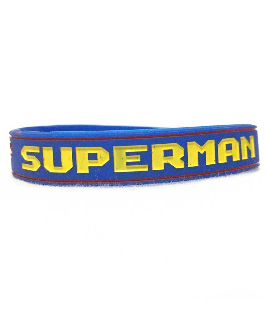 Star Enterprise Blue Faux Leather Super Man Wristband