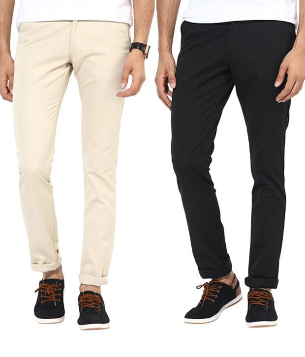 Bukkl Combo Of Cream And Black Casual Trousers
