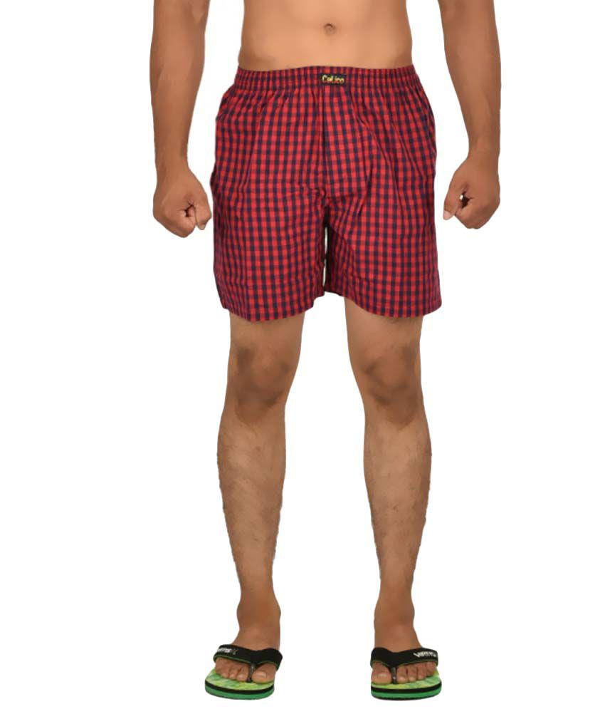 Calico Red And Black Cotton Check Shorts