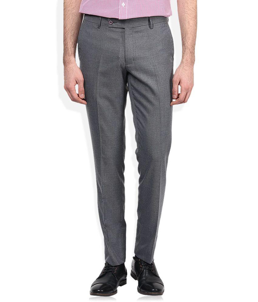 John Players Grey Slim Fit Formal Trousers