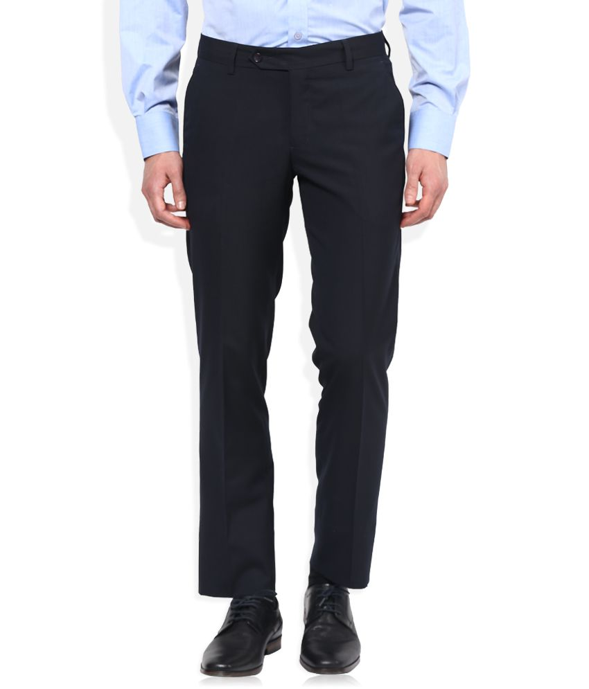 John Players Navy Slim Fit Formal Trousers