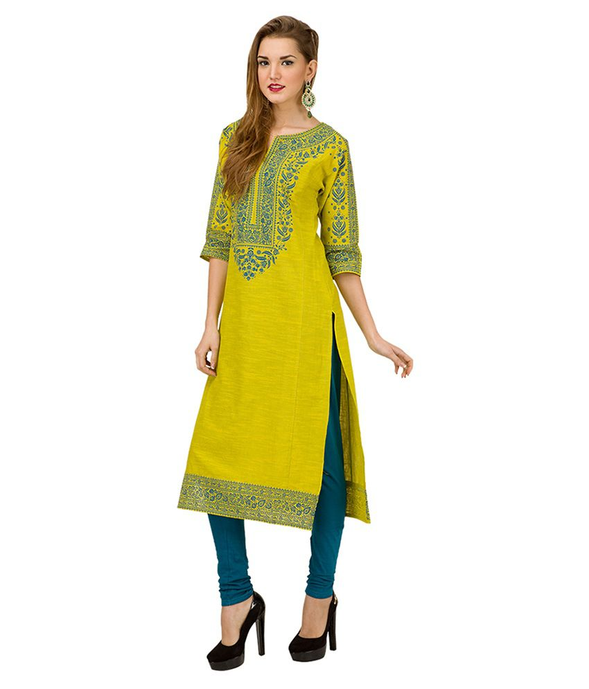 c0a296de5 Vishudh Yellow Printed Kurta - Buy Vishudh Yellow Printed Kurta ...