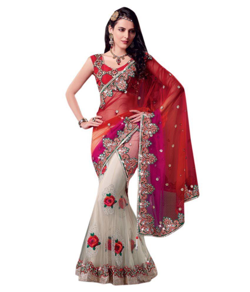 eea902eb008 Triveni Red Net Saree - Buy Triveni Red Net Saree Online at Low Price -  Snapdeal.com