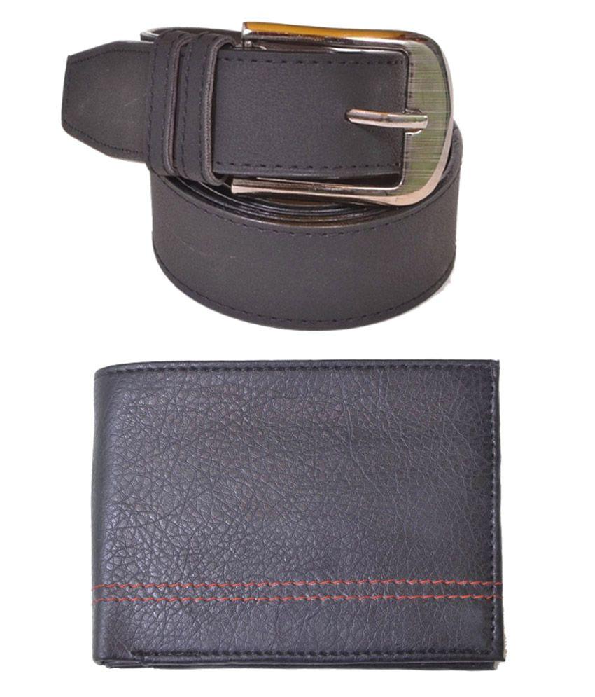 Daller Combo Of Black Formal Belt And Wallet For Men