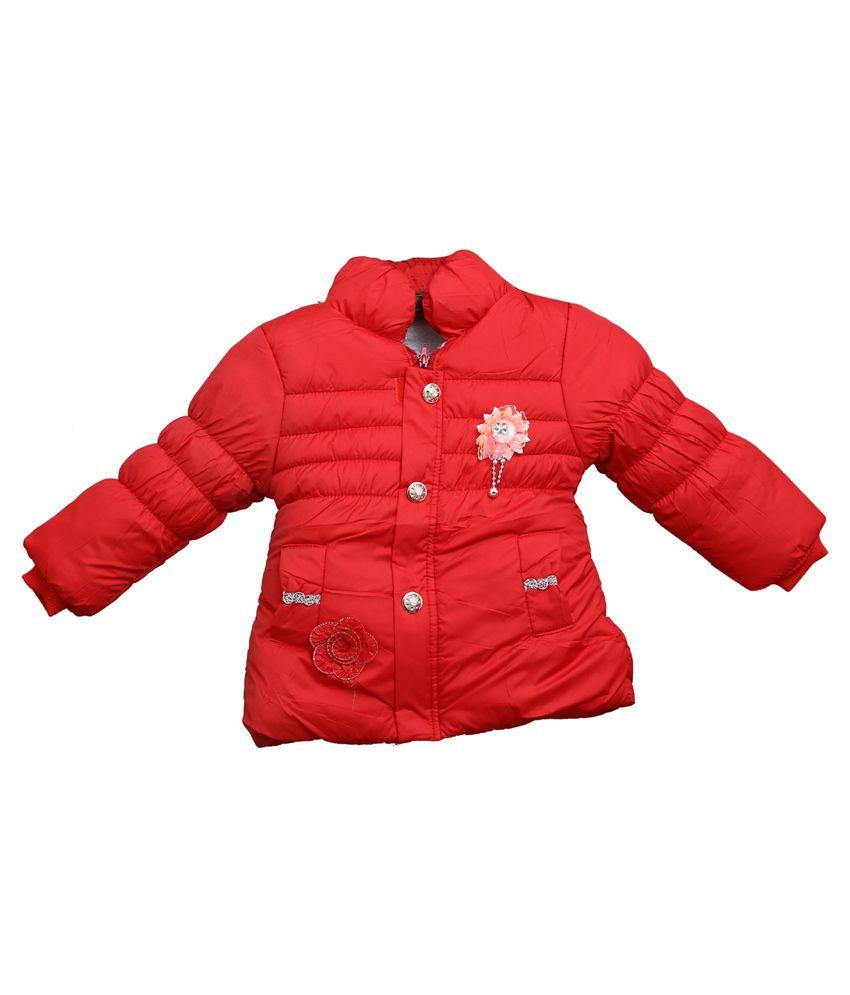 Ishika Garments Red Full Sleeves Faux Leather Padded Jacket