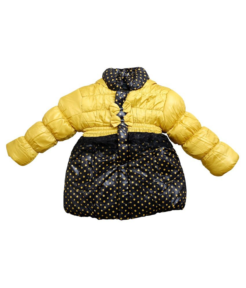 Ishika Garments Yellow and Black Full Sleeves Faux Leather Padded Jacket