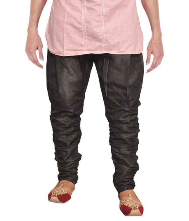 Larwa Black Silk Full Sleeve Pyjama