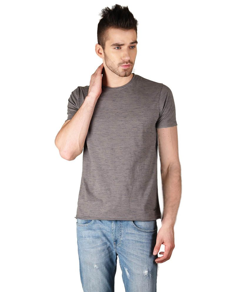 The Glu Affair Grey Cotton T-Shirt