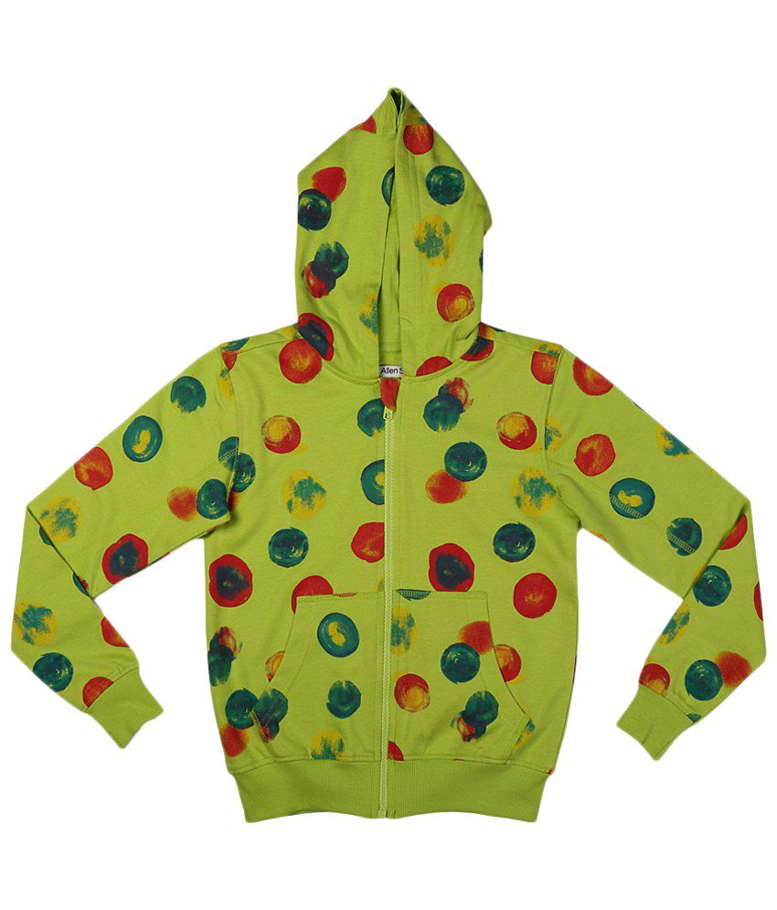 Allen Solly Green & Red Cotton Sweatshirt with Hood