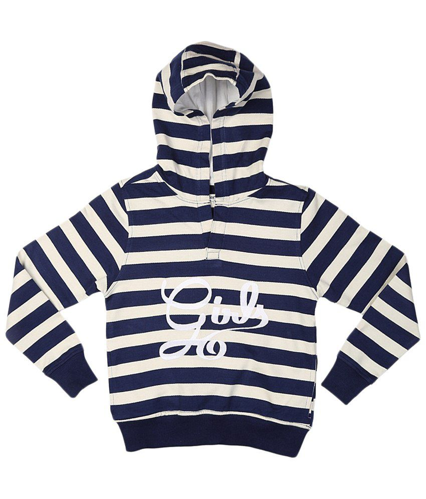 Allen Solly Navy Blue & White Cotton Sweatshirt with Hood