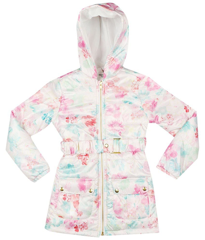 Allen Solly White & Pink Full Sleeve Hooded Jacket
