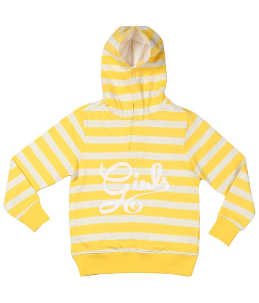 Allen Solly Yellow & White Cotton Sweatshirt with Hood