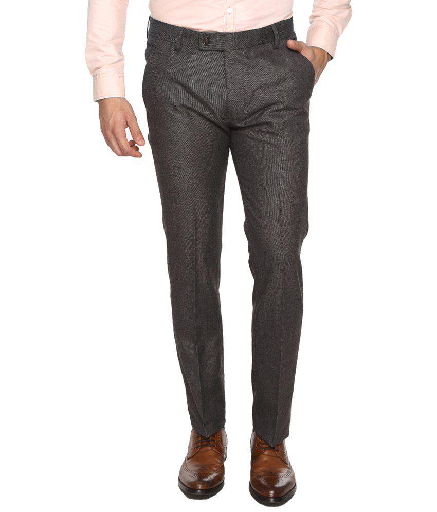 La Italia Gray Poly Viscose Formal Trousers