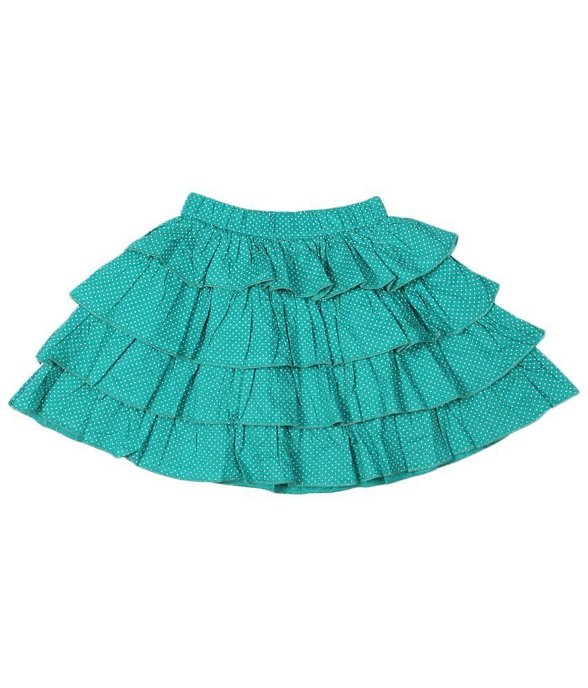 People Green Cotton Skirt