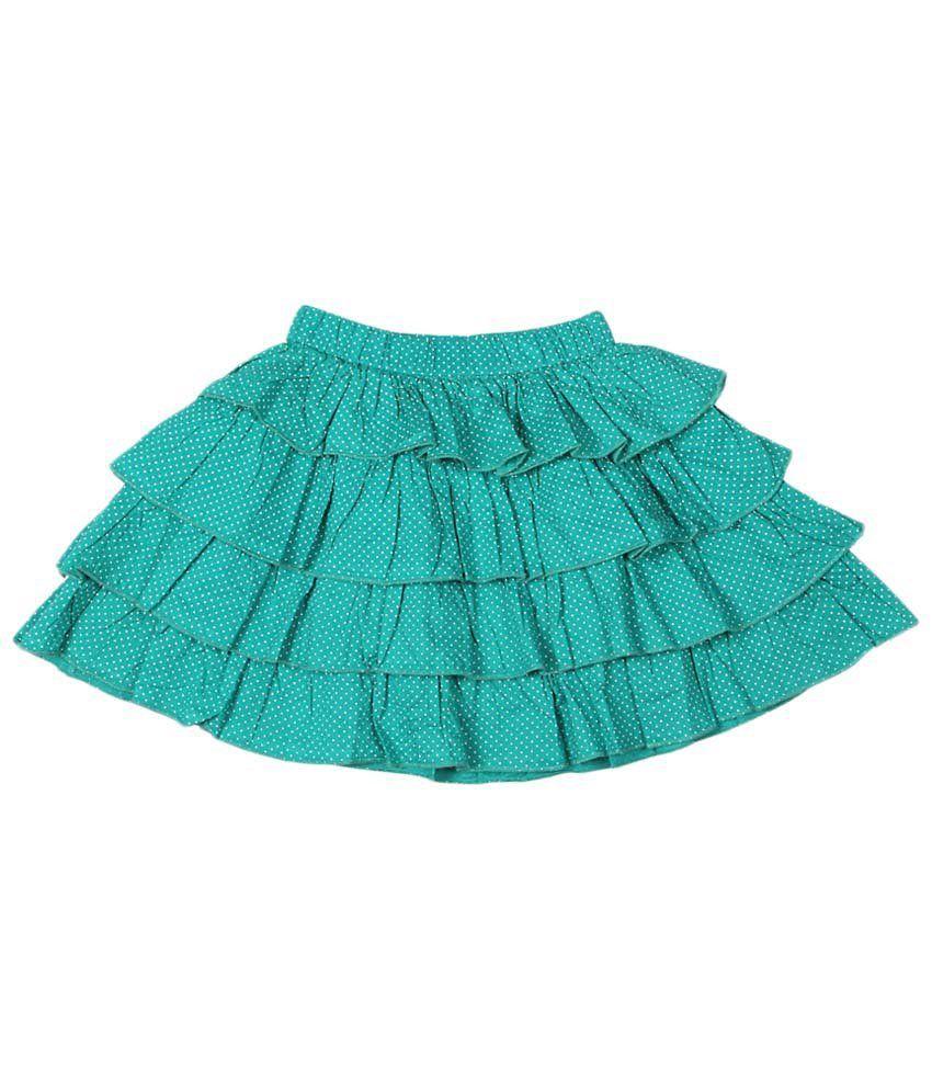 People Green Cotton Skirt