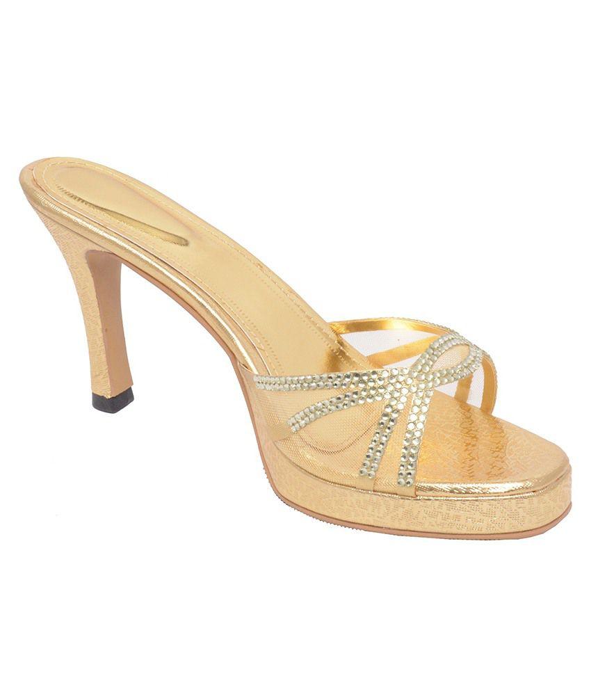 Shoooz Golden Heeled Slip Ons
