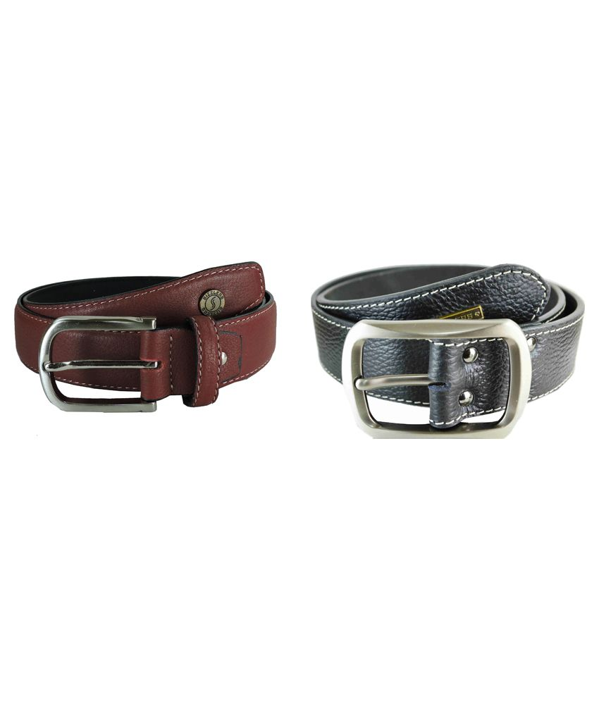 Sizzlers Red And Black Casual Leather Belt For Men - Pack Of 2